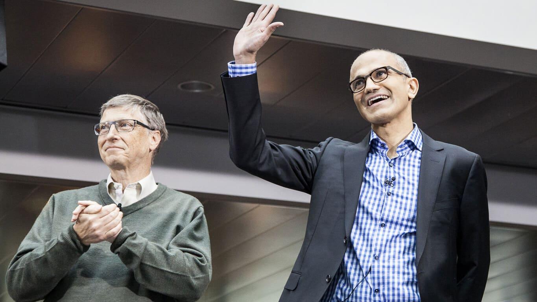 Satya Nadella and Bill Gates