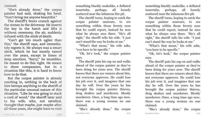 iOS, Android, and Windows phone Kindle app full-page reading views.
