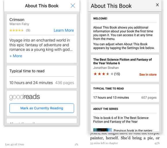 """iOS and Android Kindle app """"About This Book"""" info."""