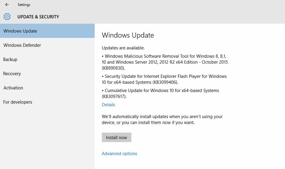 Windows 10 RTM receives cumulative update KB3097617 OnMSFT com