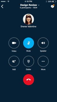 Skype for Business iOS user interface.