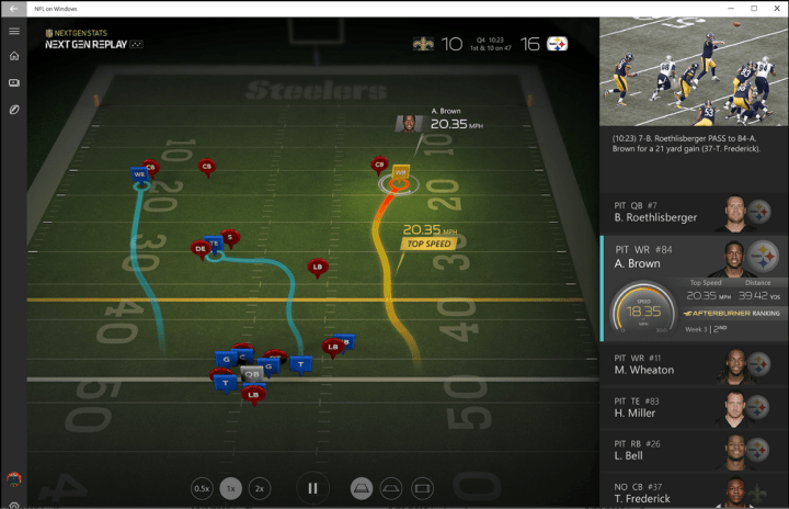Check out the Windows NFL app for a new way to experience replays.