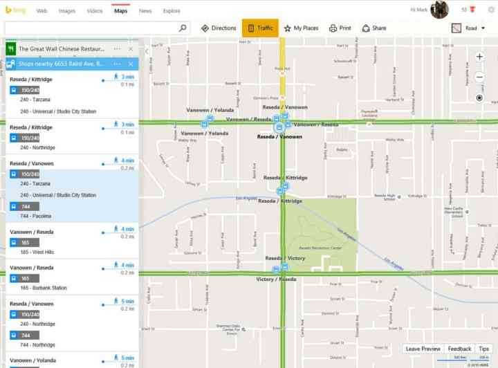 Do you have time to walk to a stop? Bing Maps will let you know.