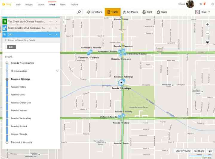 Bing Maps is happy to show you where you're going.