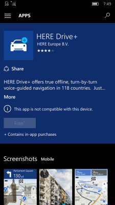 HERE Drive+ Windows 10 Mobile Store listing.