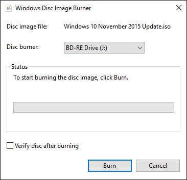 Windows Disc Image Burner.