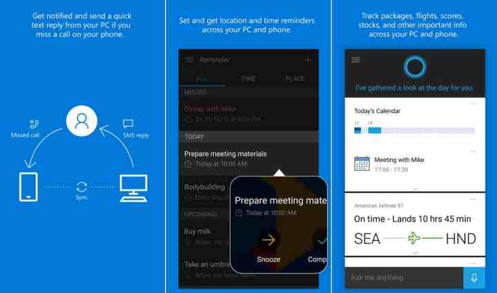 Cortana offers a wide range of functionality on different platforms, from missed call notifications to shared reminders to tracking.