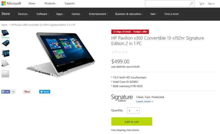 12 Days of Deals, Day 1: HP Pavilion x360 Convertible 13-s192nr for $499.