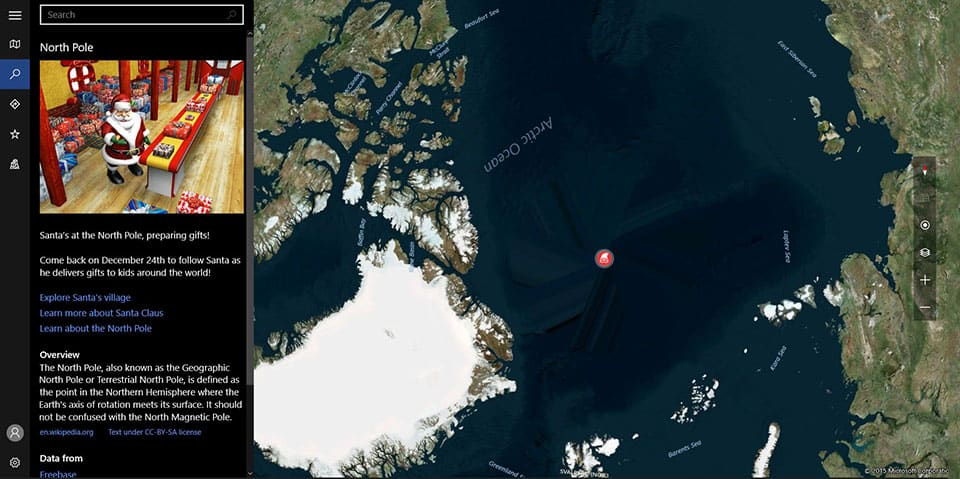 Windows 10 Maps App Santa