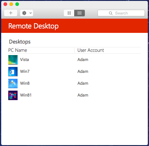 Remote Desktop Preview for Mac List View