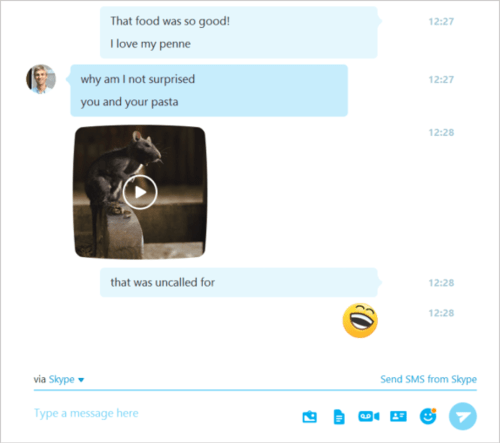 In Skype version 7.16, sharing something requires one click. That's progress, folks!