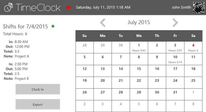 Timeclock App Screenshot
