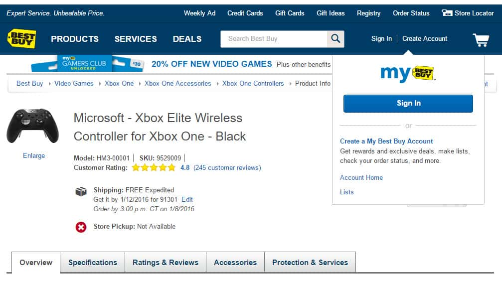 Best Buy Xbox One Elite Wireless Controller