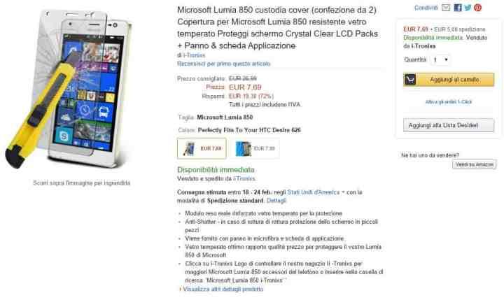Lumia 850 Amazon Italy