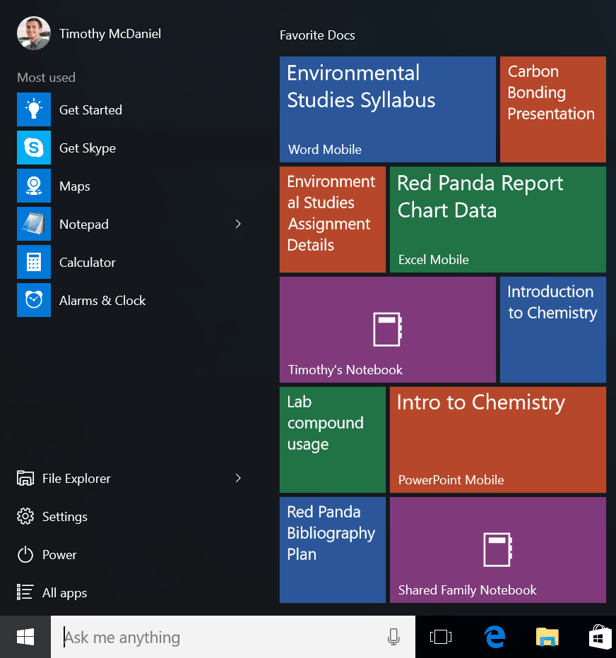 Pin Office documents to your Start menu.