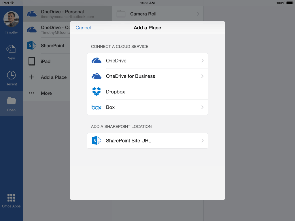 The new Box integration in Office to iOS