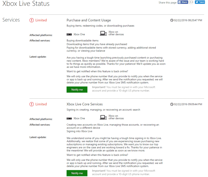 Xbox Live Issues 2_22_2016