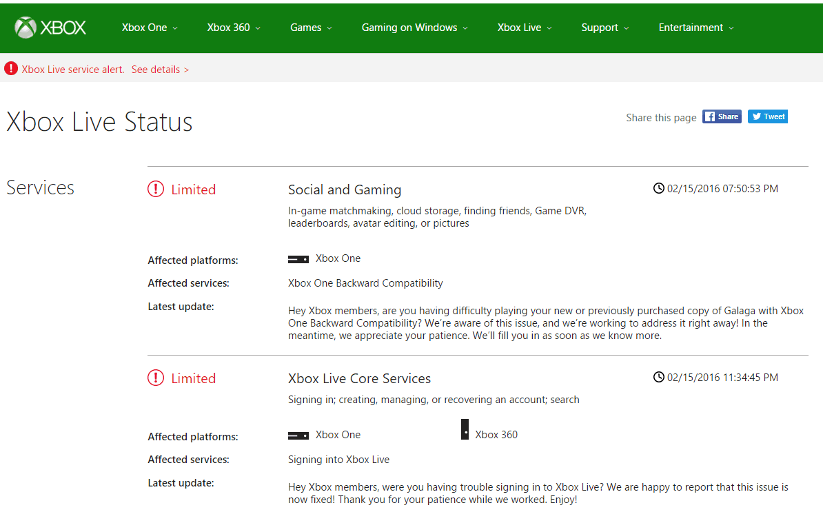 Xbox Live is having some issues with signing in and Backward