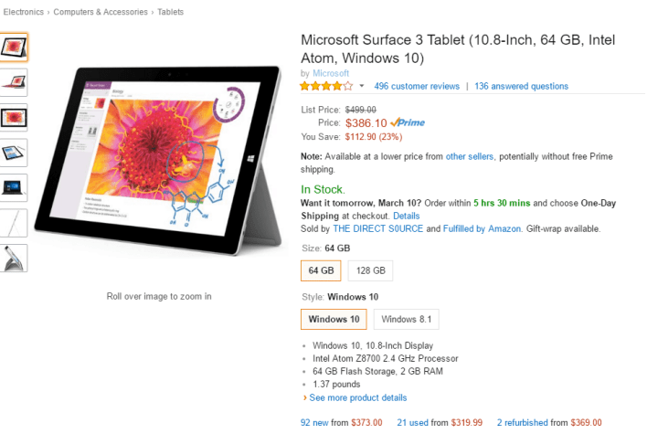 Amazon Surface 3 64GB version.