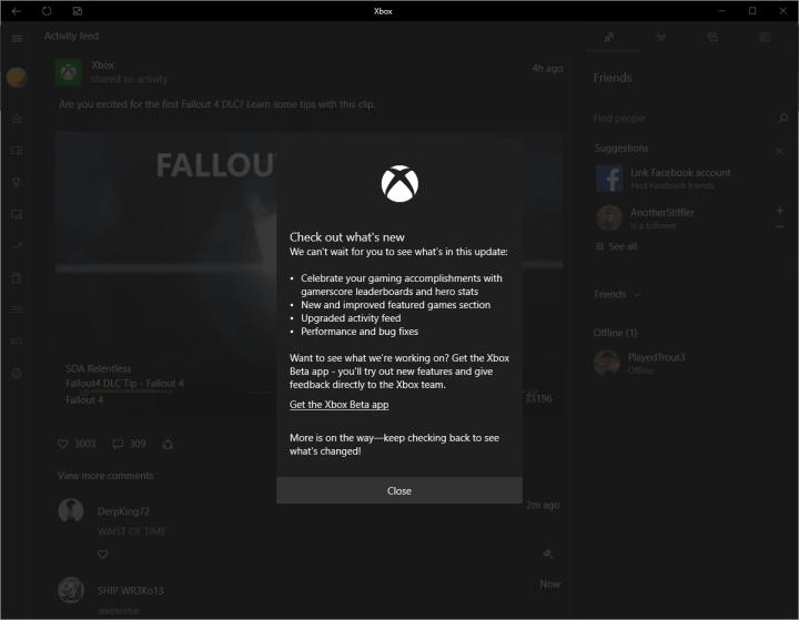 Windows 10 Xbox App Update