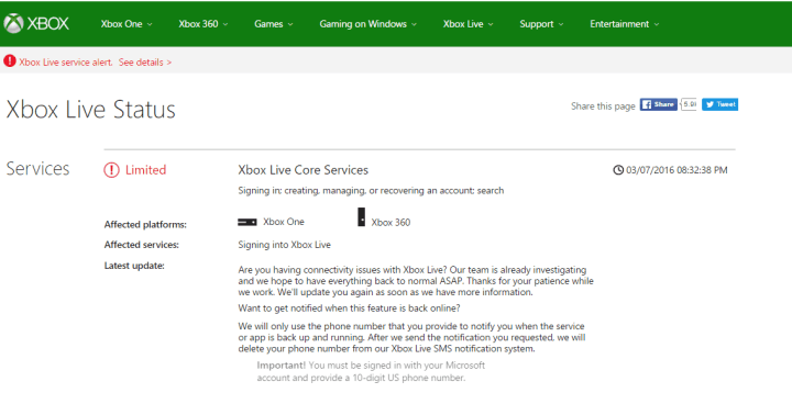 Xbox Live signin problems 3/7/2016.