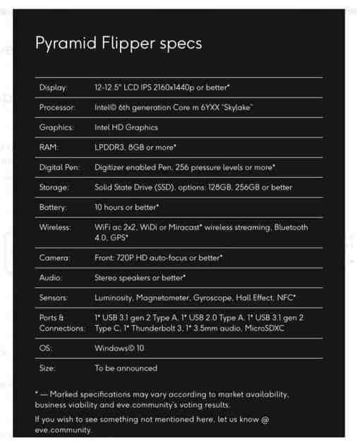 Pyramid Flipper Specifications