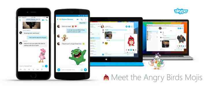 The new Angry Bird emojis will reach across all Skype apps.