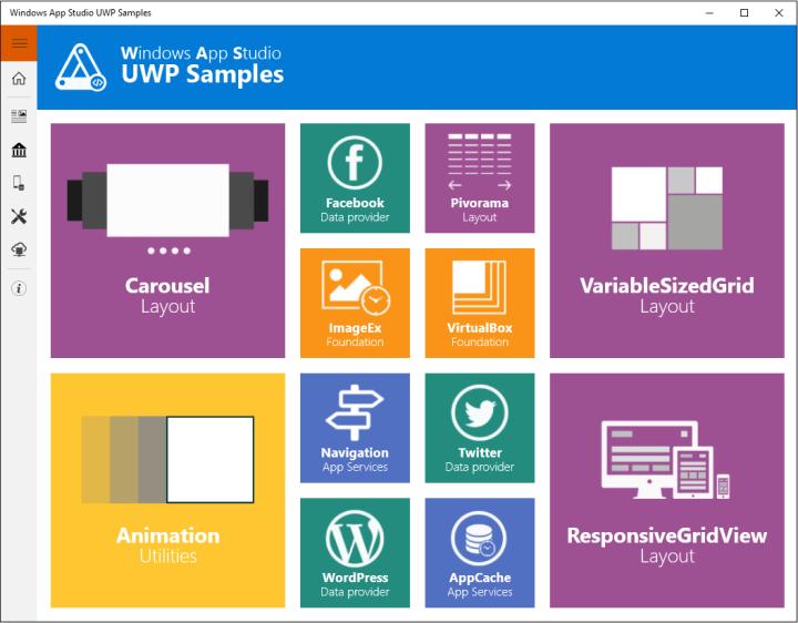 Windows 10, Windows App Studio UWP Samples