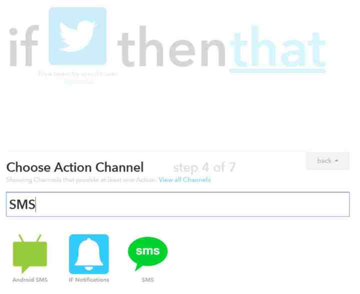 Next, choose an Action Channel for the recipe's output. I chose SMS in this case.