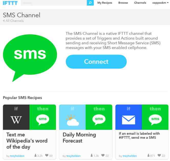 IFTTT Connecting to SMS