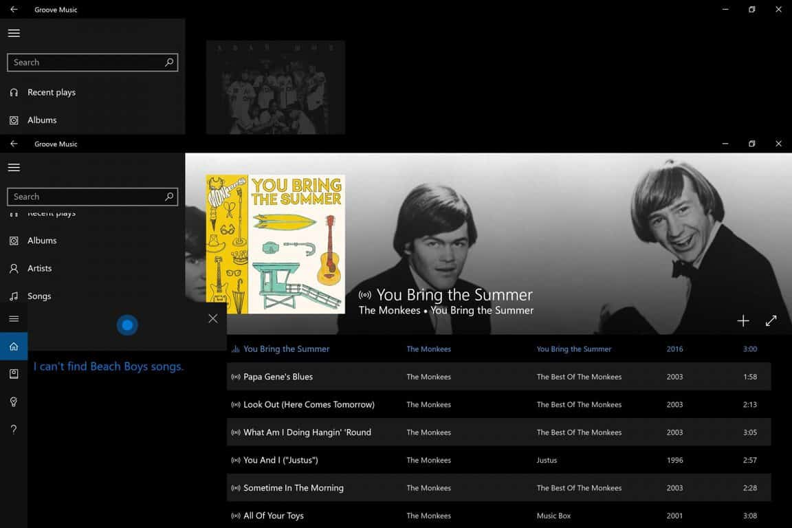 Using Cortana, Groove Music in Windows 10 Insider build