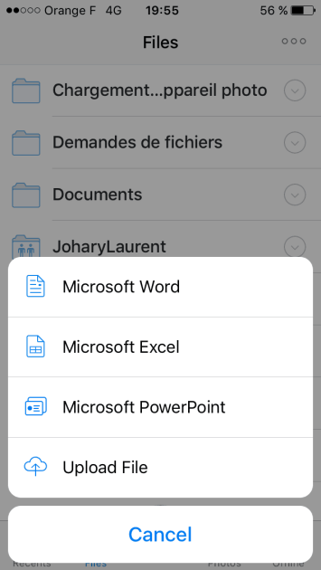 The app makes it easy to create Microsoft Office files.