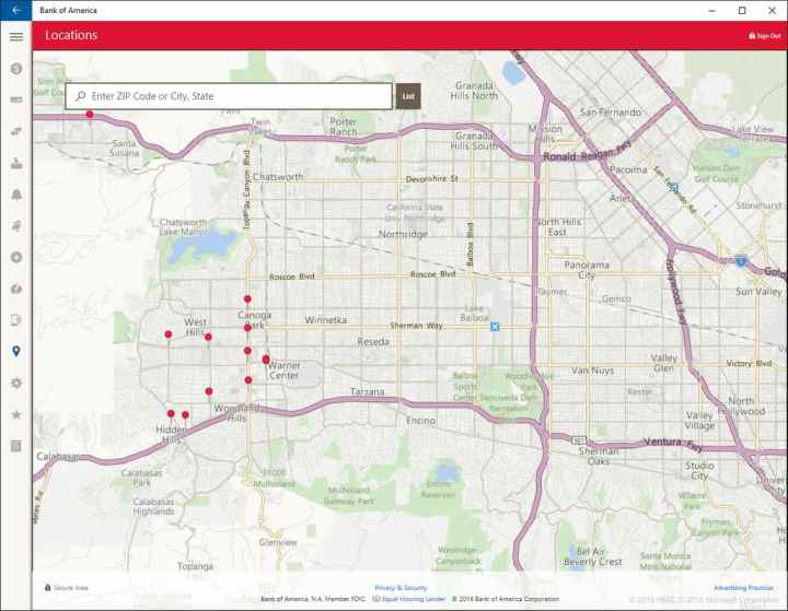 BoA app locations screen,