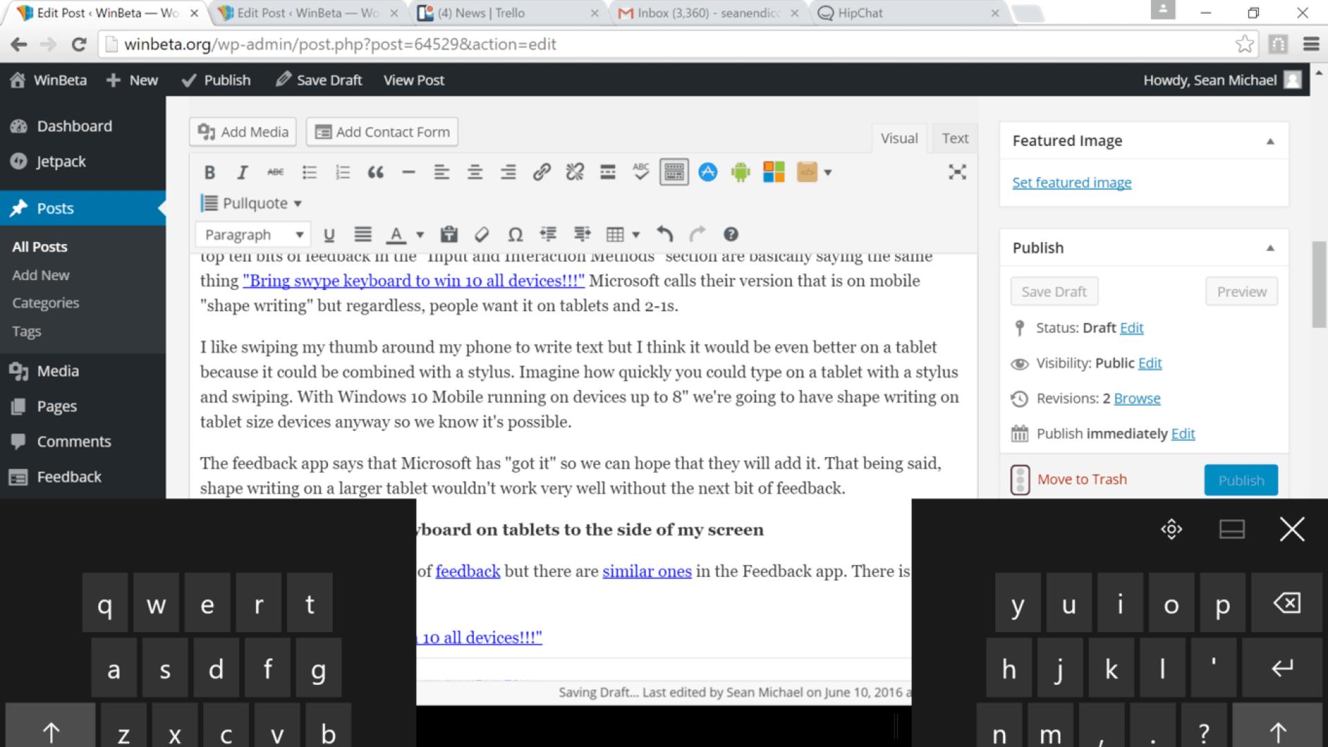 Split screen keyboard on Windows 10