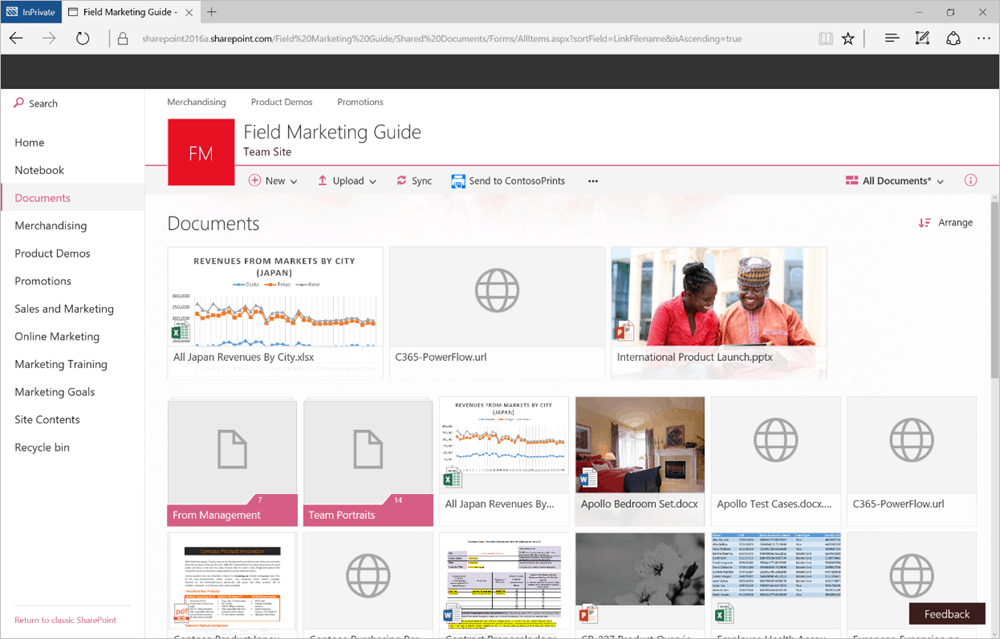 The modern document library experience in SharePoint.