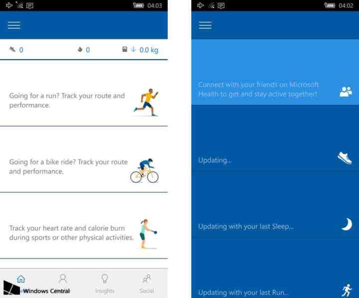 Windows 10 Mobile Health app updates