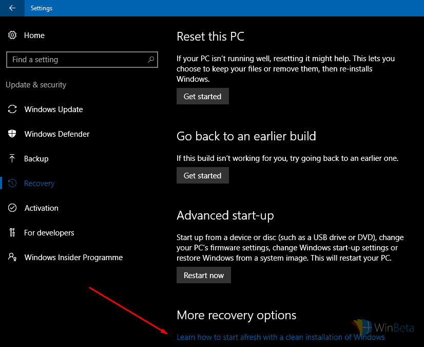 Clean install tool from Settings app