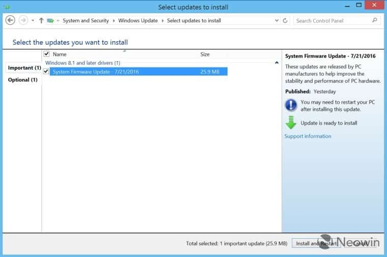 The Surface Pro 3 firmware update on Windows Update (credit: Neowin).
