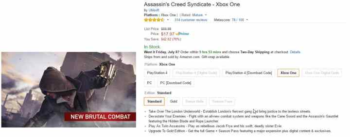 Assassin's Creed Xbox One PC