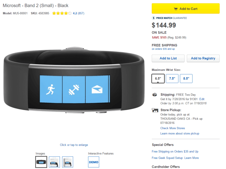 Best Buy Band 2 $144.99 Deal