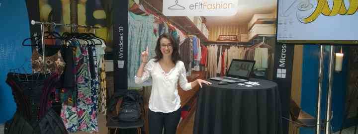 "Juliana Pirani showing off the eFitFashion concept at the Windows 10 ""Dream. Create. Do"" Student Showcase on May 10 in New York."
