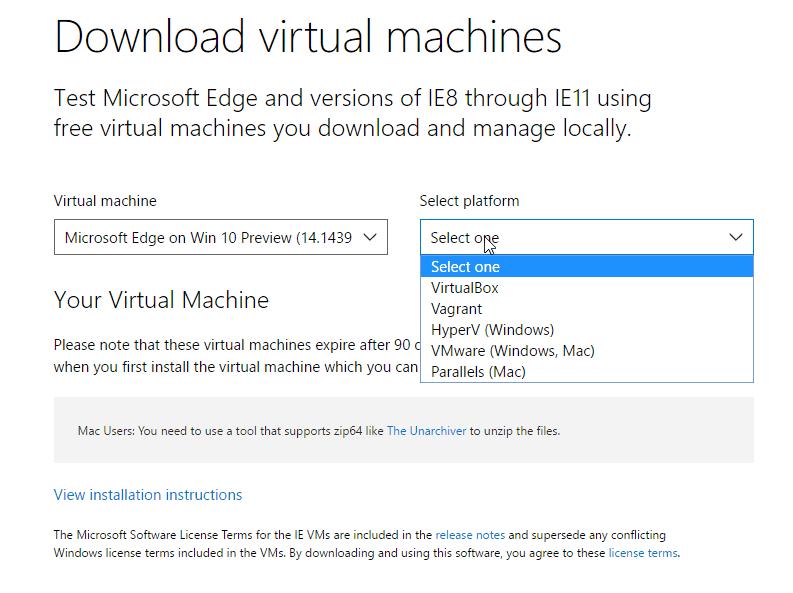MIcrosft Edg Dev Virtual Machines
