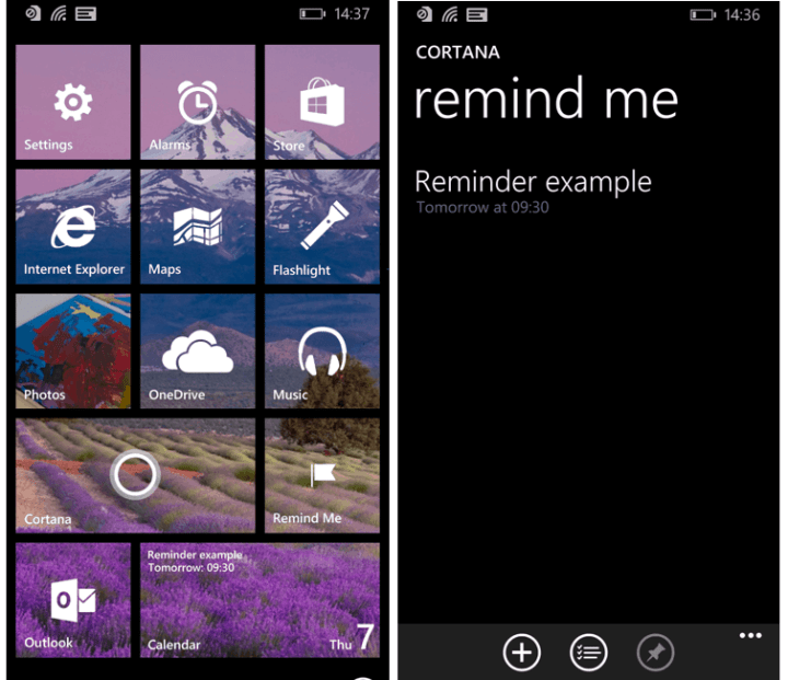 You could pin Cortana reminders on Windows Phone 8.1.
