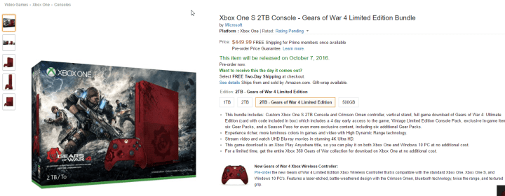 Xbox One S Amazon Gears of War Preorder