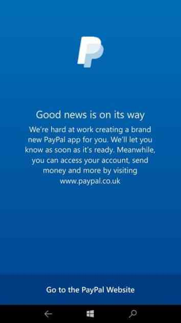 The message displayed by the Paypal app today (credit: Windows Central).