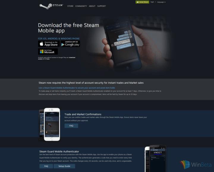 steam-windows-phone-website