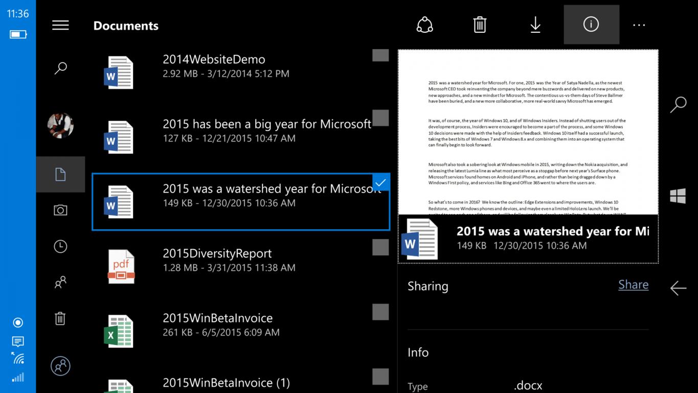 OneDrive on Windows 10 Mobile