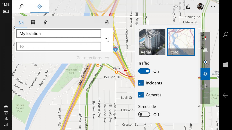 Windows 10 Map location options