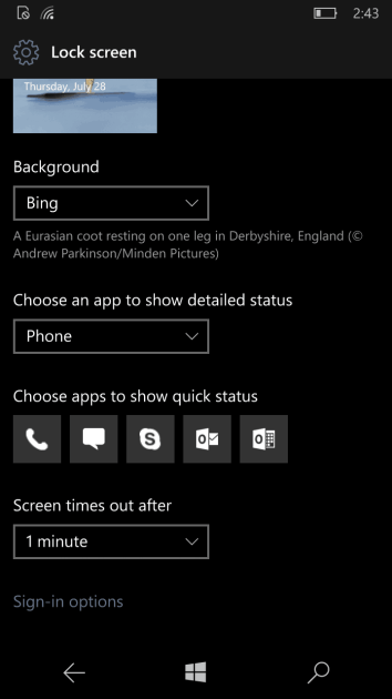 Skype Preview can now show quick status on the lock screen.