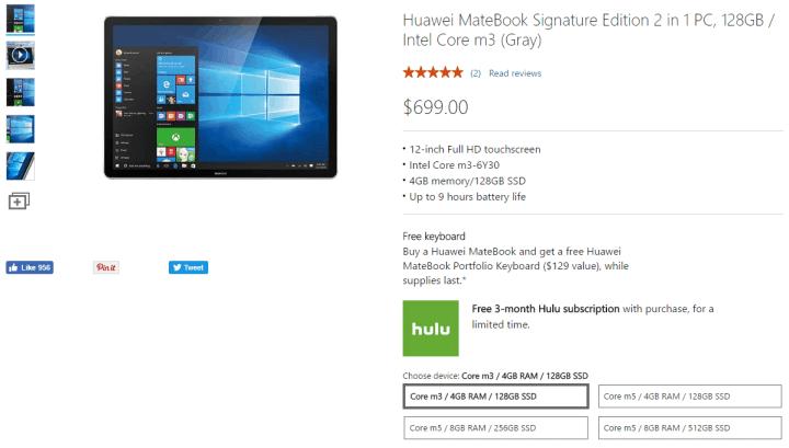 Microsoft Store Huawei Matebook with free Portfolio Keyboard